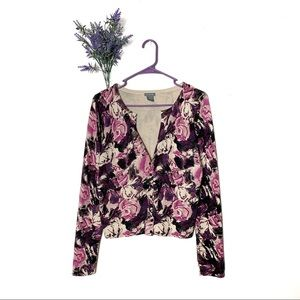 Pink Ann Taylor Floral Button Cardigan Sweater